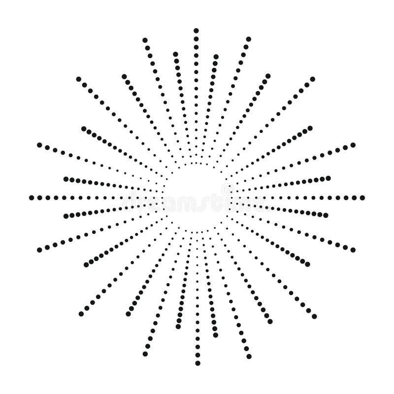 Kropki sunburst Halftone skutka promienie Słońce promień od punktów 3 d abstrakcyjne tła pozbawione kropkująca scena wektor ilustracji
