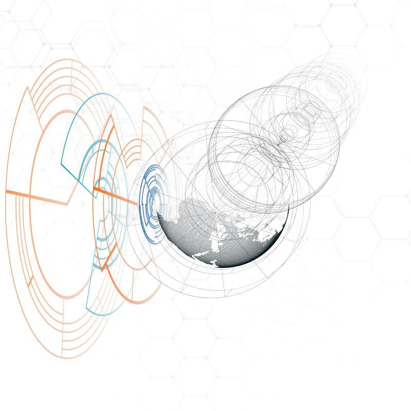 Kropkowana światowa kula ziemska, złączone linie, abstrakcjonistyczna budowa, stacja kosmiczna, orbita odizolowywająca na bielu F ilustracja wektor