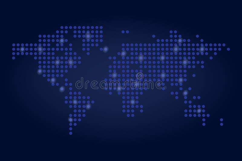 Kropkowana światowej mapy sieci technologii pojęcia wektoru ilustracja royalty ilustracja