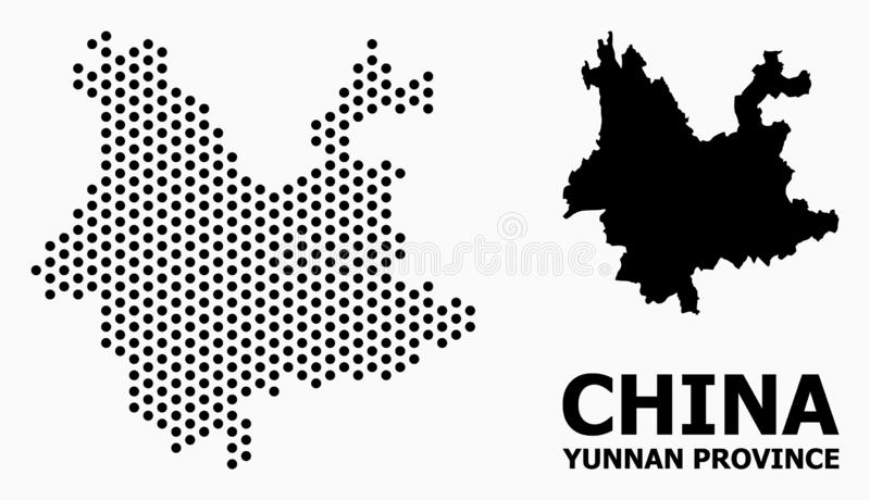 Kropkowana Deseniowa mapa Yunnan prowincja ilustracja wektor