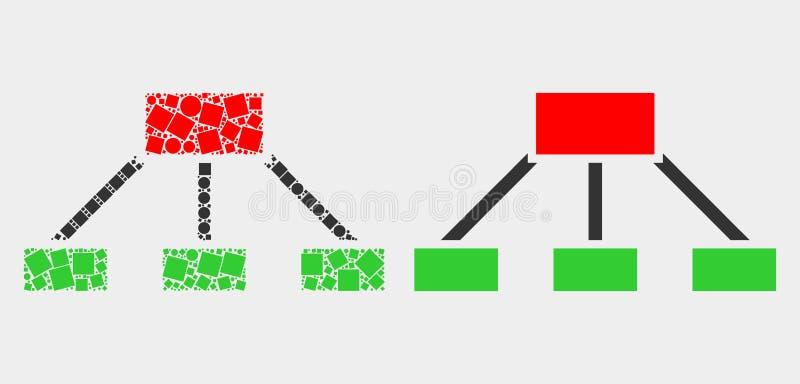 Kropkowana i Płaska Wektorowa hierarchia Łączy ikonę ilustracja wektor