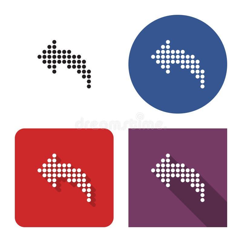 Kropkowana ikona z lewej strony wyginająca się strzała w cztery wariantach royalty ilustracja
