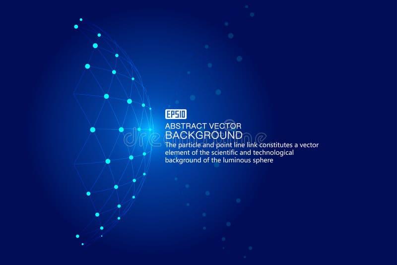 Kropkowana kreskowa kombinacja lekki technologii tła, naukowego i technologicznego skutek wektorowi elementy, ilustracja wektor