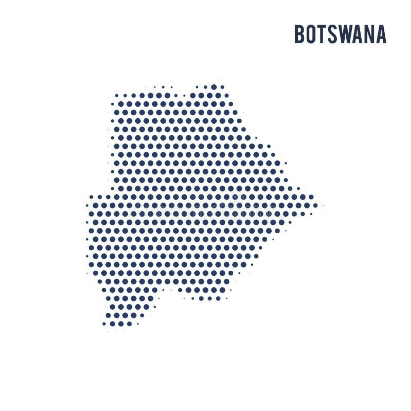 Kropkowana mapa Botswana odizolowywał na białym tle royalty ilustracja