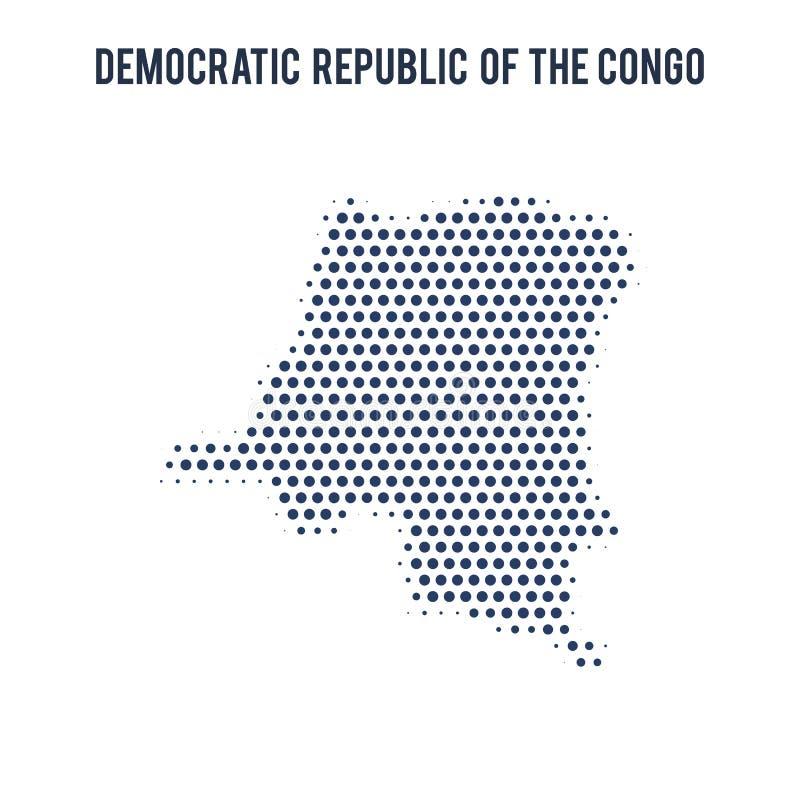 Kropkowana mapa Demokratyczna republika Kongo odizolowywający na białym tle ilustracja wektor