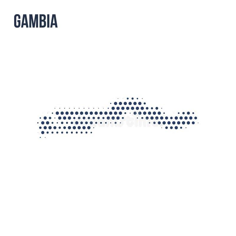 Kropkowana mapa Gambia odizolowywał na białym tle royalty ilustracja