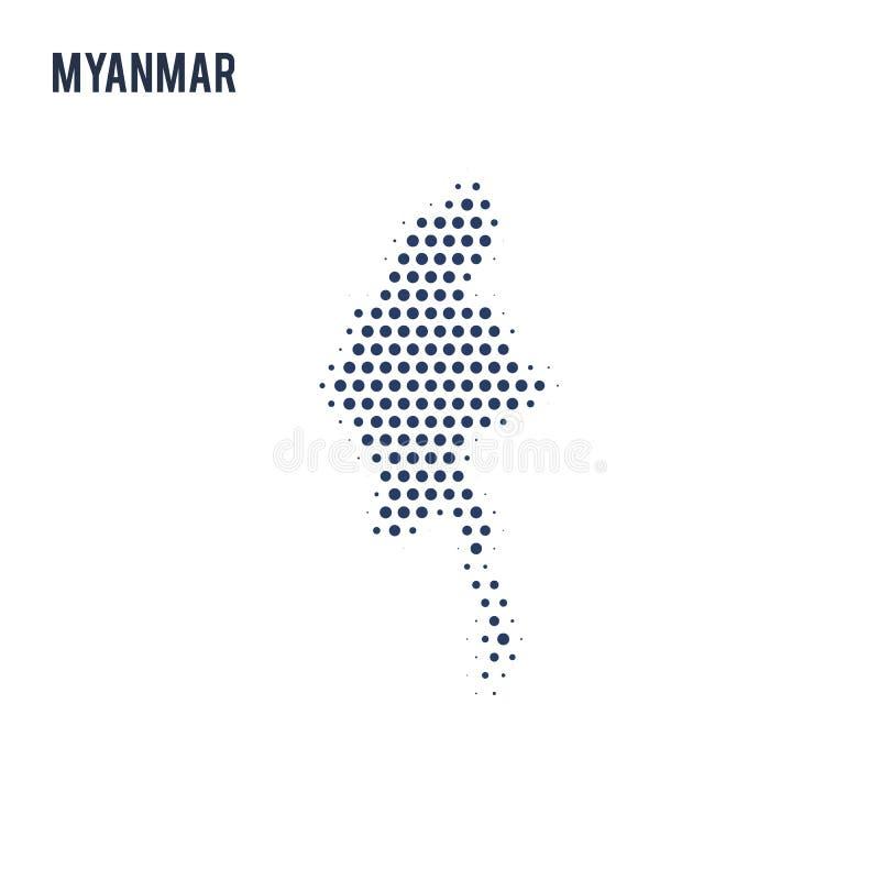 Kropkowana mapa Myanmar odizolowywał na białym tle ilustracji