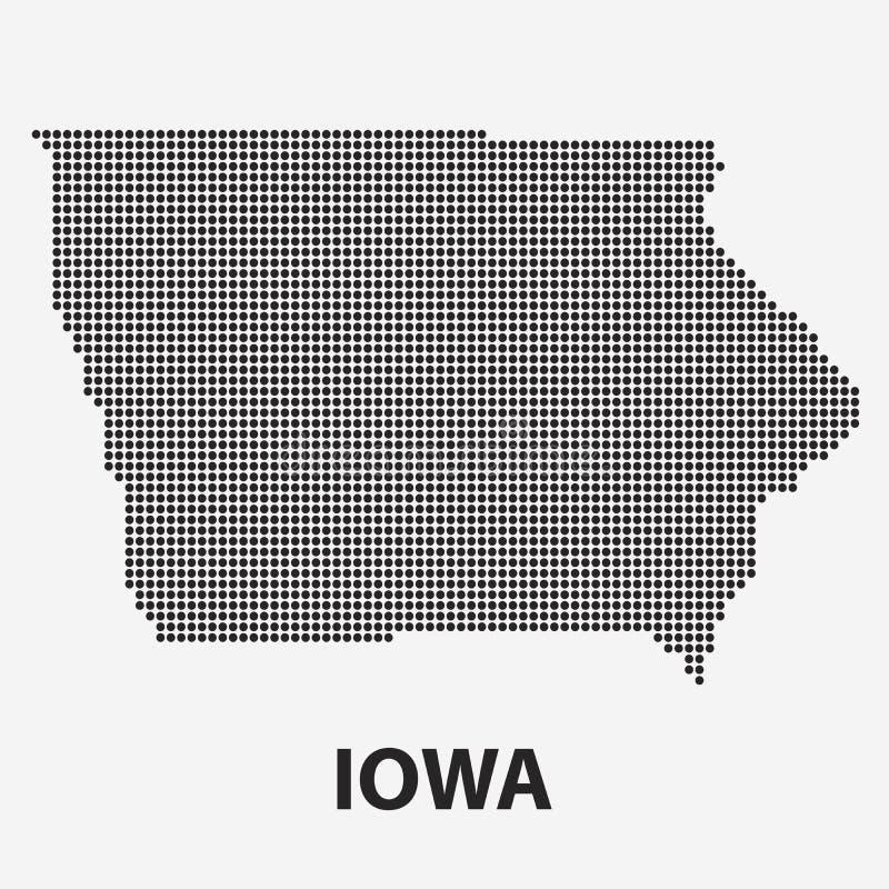 Kropkowana mapa stan Iowa również zwrócić corel ilustracji wektora royalty ilustracja