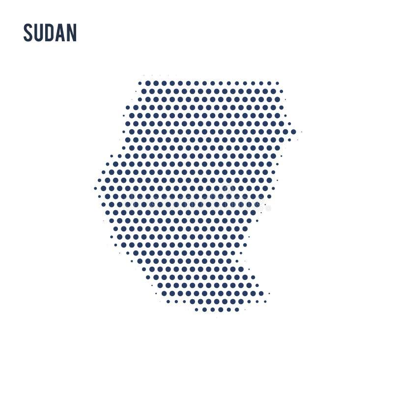 Kropkowana mapa Sudan odizolowywał na białym tle ilustracji