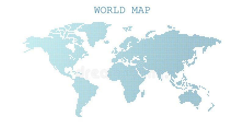 Kropkowana pusta błękitna światowa mapa odizolowywająca na białym tle Świat ilustracja wektor