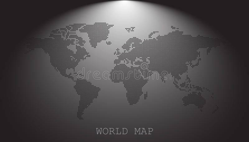 Kropkowana pusta czarna światowa mapa na popielatym tle royalty ilustracja