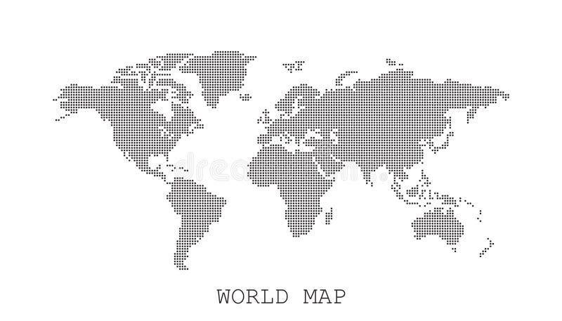 Kropkowana pusta czarna światowa mapa odizolowywająca na białym tle ilustracji