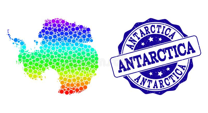 Kropkowana tęczy mapa Antarctica i Grunge znaczka foka ilustracja wektor