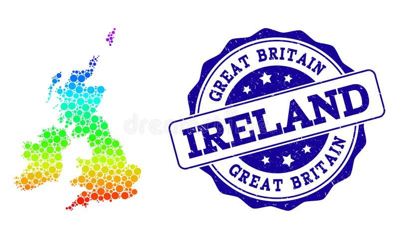 Kropkowana tęczy mapa Wielki Brytania, Irlandia i Grunge znaczka foka royalty ilustracja