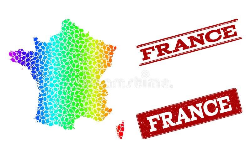 Kropkowana widmo mapa Francja i Grunge znaczka foki royalty ilustracja