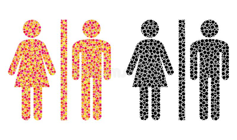 Kropkowane WC Persons mozaiki ikony ilustracji