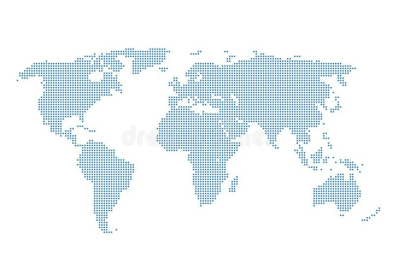 Kropkowanego Światowej mapy szablonu środków ogólnospołeczna podróż ilustracja wektor