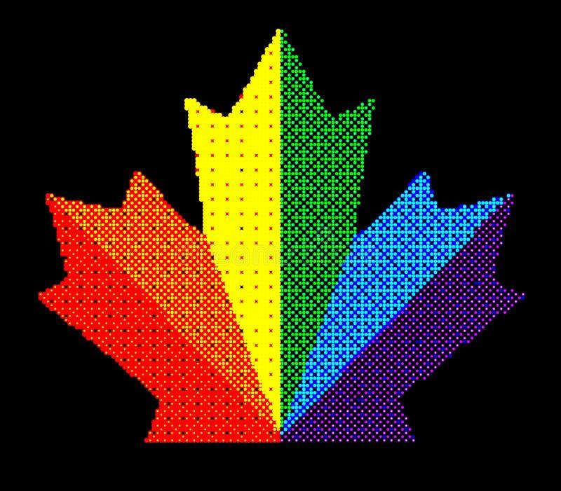 Kropkowanego piksla Abstrakcjonistycznego liścia klonowego kolorowi cienie Mozaika druk Dla reklamowych broszur o sprzedaży, pokr ilustracja wektor