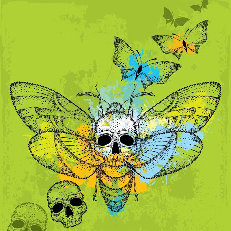 Kropkowany śmierci głowy jastrzębia ćma lub Acherontia atropos w czerni z czaszkami i motylami na textured zielonym tle ilustracja wektor