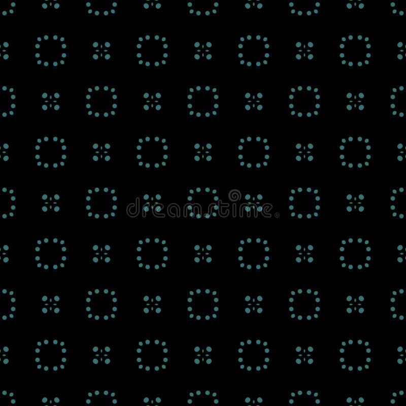 kropkowany deseniowy bezszwowy Ciemny tło z rozjarzonymi błękitów okręgami, punkty, polki kropka Geometryczny wzór w powtórce ilustracja wektor