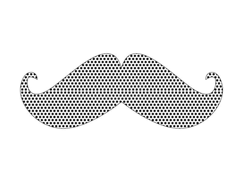 Kropkowany Deseniowy obrazek modnisia wąsy ilustracja wektor