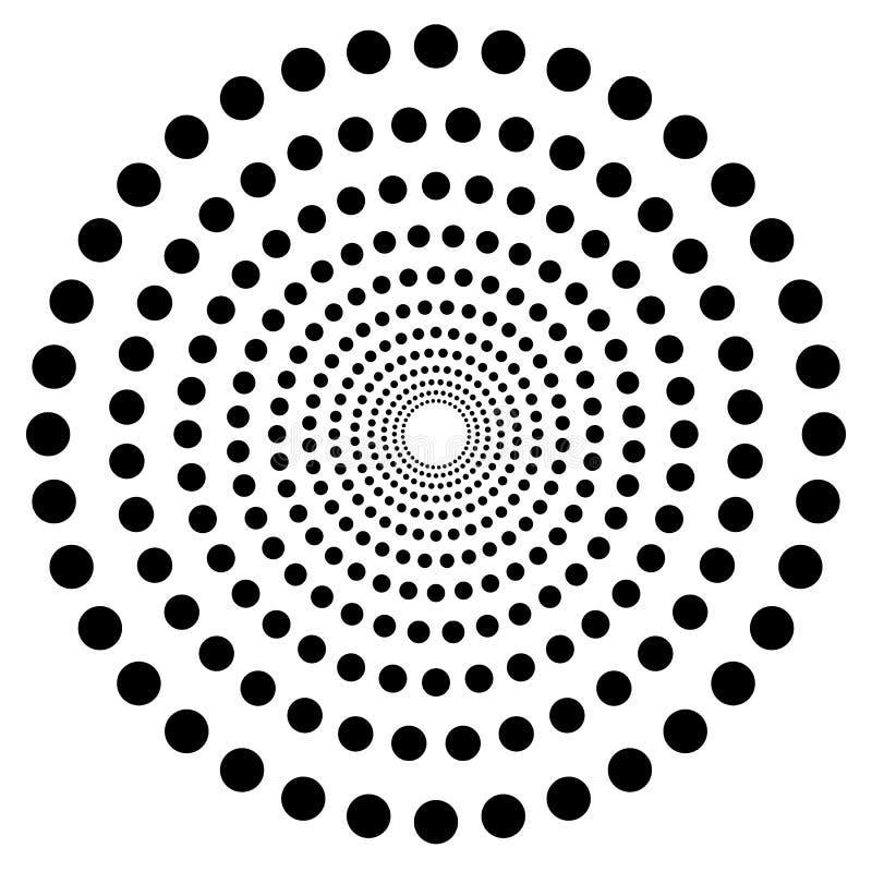 Kropkowany kółkowy kształt, element Abstrakcjonistyczny motyw z okręgami ilustracji