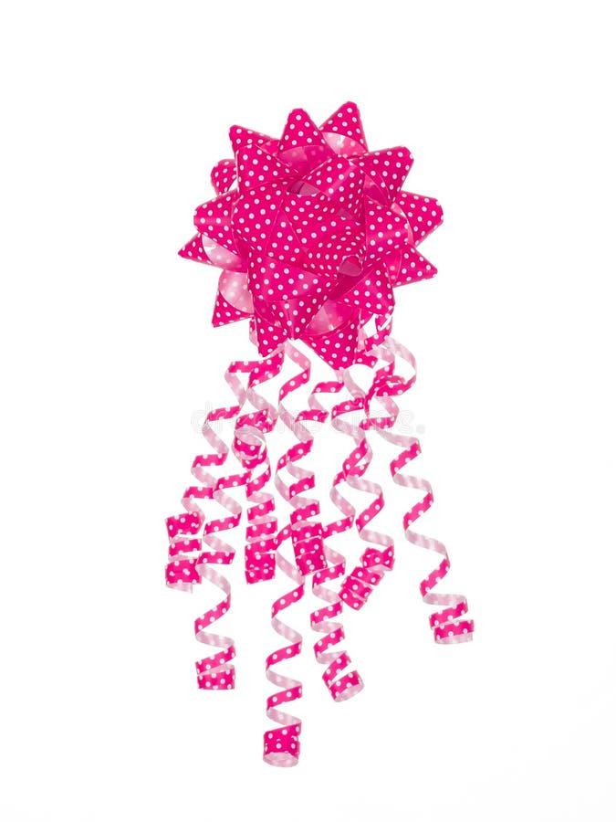 Kropkowany różowy prezenta łęk obraz stock