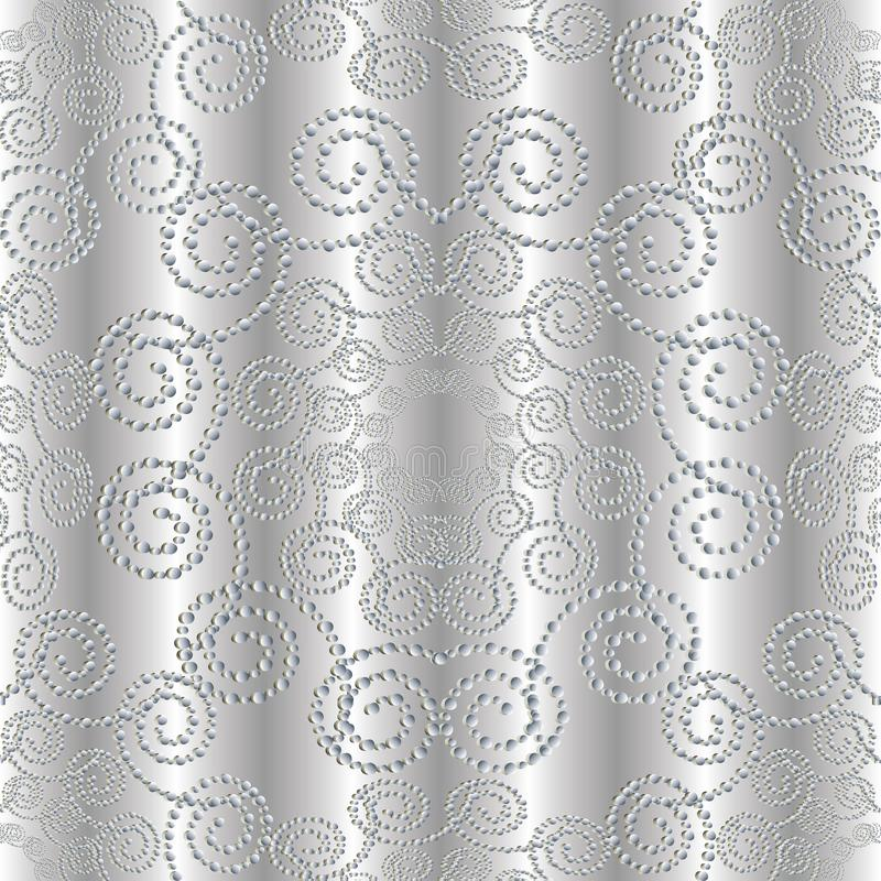 Kropkowany srebra 3d bezszwowy wzór ilustracji