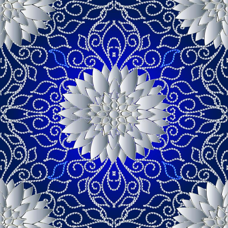 Kropkowanych linii kwiecisty 3d seanless wzór Wektorowy abstrakcjonistyczny backgro ilustracja wektor