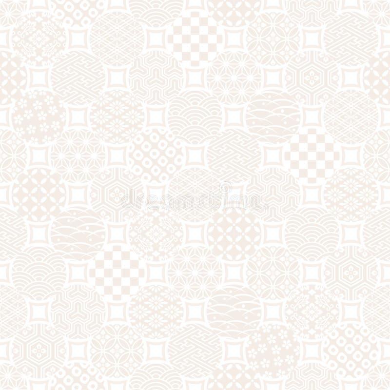 Kropkuje tło z Japońskim tradycyjnym projektem ilustracja wektor