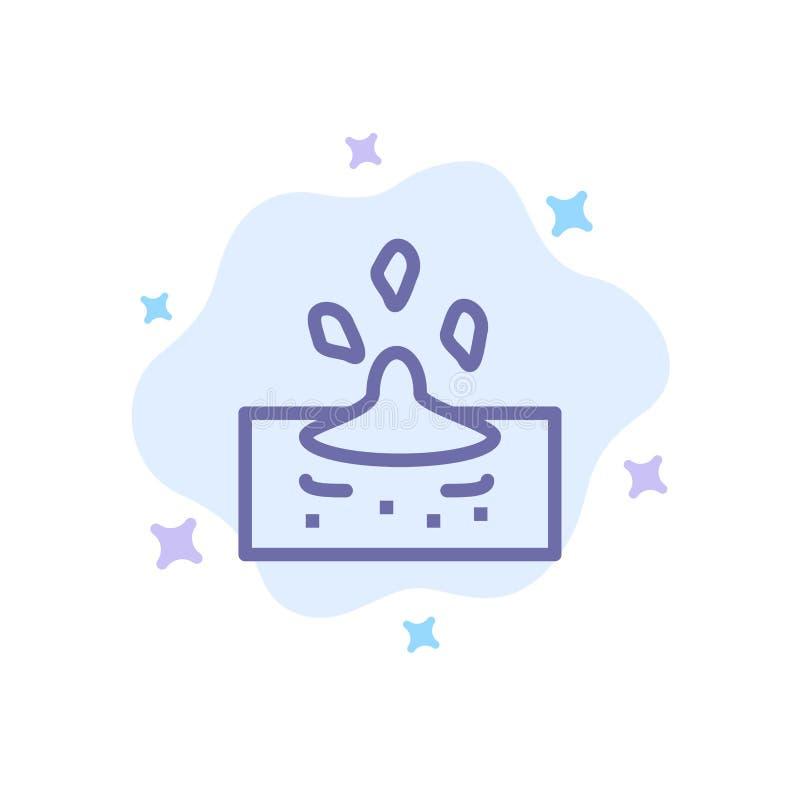 Kropla, deszcz, Dżdżysta, Wodna Błękitna ikona na abstrakt chmury tle, ilustracja wektor