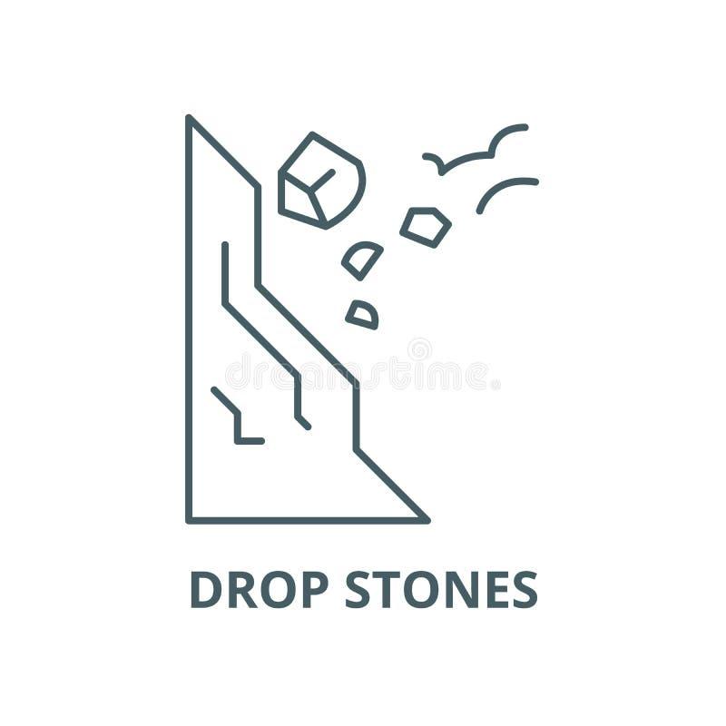 Kropla kamienie ostrożnie kreskowa ikona, wektor Kropla kamieni ostrożnie konturu znak, pojęcie symbol, płaska ilustracja royalty ilustracja