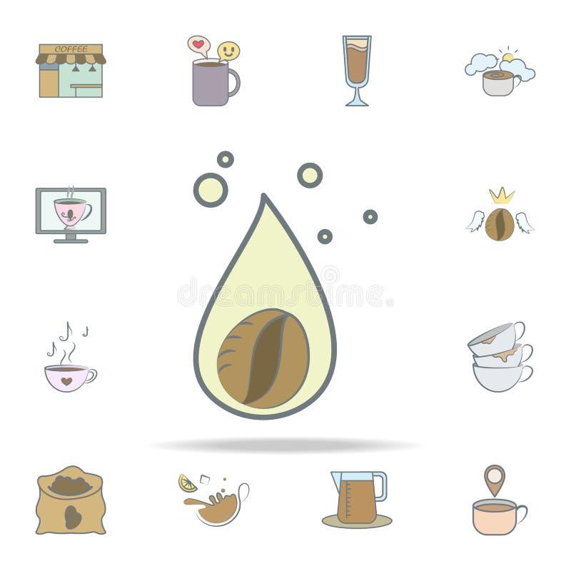 kropla kawowa ikona kawowy ikony ogólnoludzki ustawiający dla sieci i wiszącej ozdoby royalty ilustracja