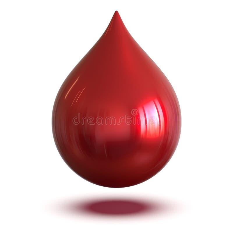 Kropla krew atramentu abstrakcjonistyczny czerwony barwidło snining Pojedyncza kropelki forma ilustracja wektor