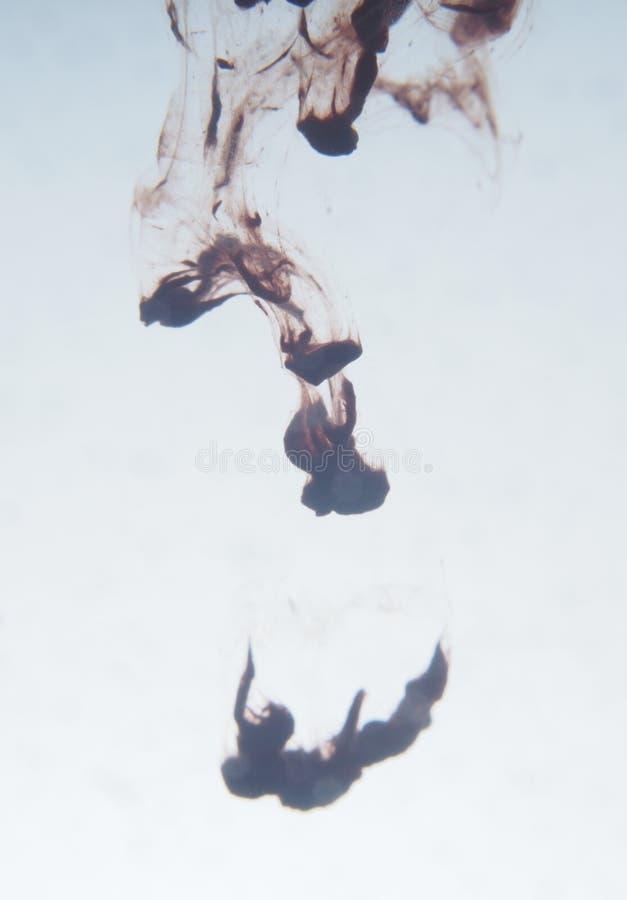 Kropla menchie maluje krople w wodzie Abstrakcjonistyczna fotografia obrazy stock