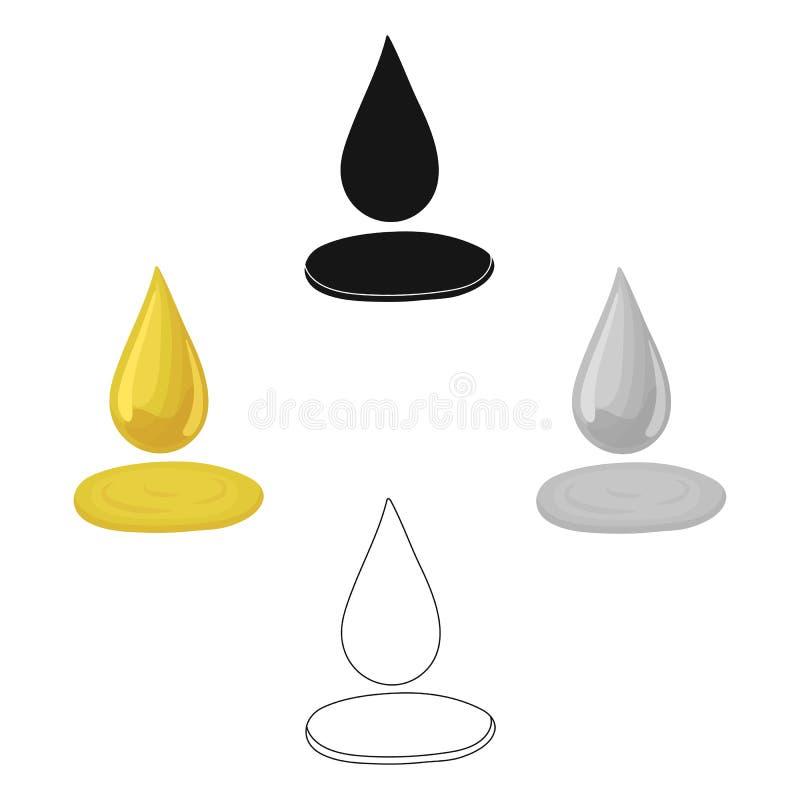 Kropla oliwa z oliwek Oliwki przerzed?? ikon? w kresk?wce, czer? symbolu zapasu ilustracji stylowa wektorowa sie? royalty ilustracja