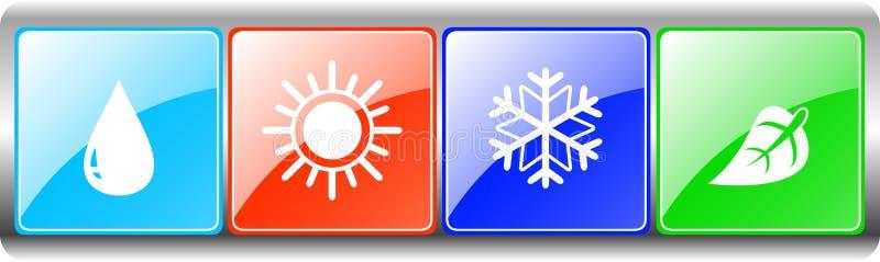 Kropla, słońce, płatek śniegu, liść na metalu tle ilustracji
