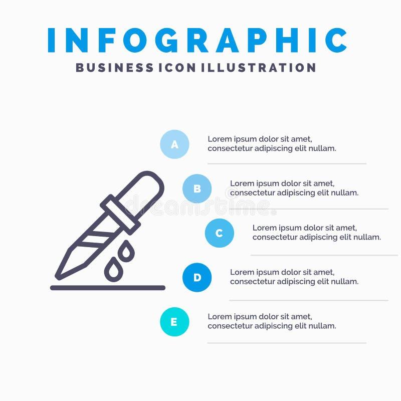 Kropla, wkraplacz, Medyczny, medycyny Kreskowa ikona z 5 kroków prezentacji infographics tłem royalty ilustracja