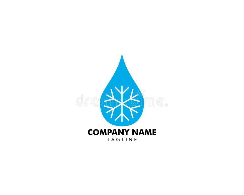 Kropla woda z płatek śniegu ikoną, wody kropli znak, wody kropla z płatek śniegu logo ilustracji