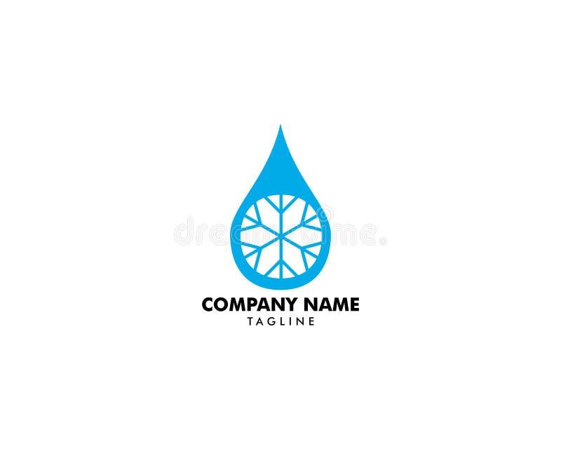 Kropla woda z płatek śniegu ikoną, wody kropli znak, wody kropla z płatek śniegu logo ilustracja wektor