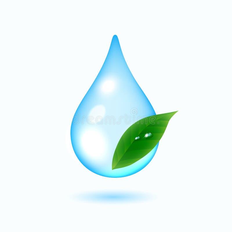 Kropla woda z zielonym liściem ilustracji