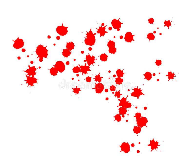 Krople krew czerwona krew bryzga, krople i ślad Odizolowywający na białym tle ilustracji