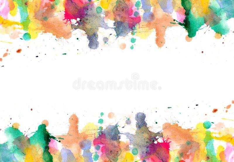 Krople - watercolour farb splatters na papierze royalty ilustracja