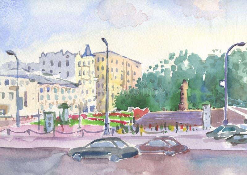 Kropotkinskaya Moskow, miastowy krajobraz royalty ilustracja