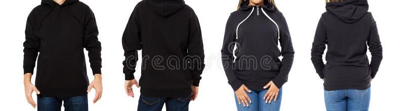 Kropp av mannen och kvinnan i svart hoodieåtlöje upp uppsättningen som isoleras på vit bakgrund, tom svart huv, tröjamodell fotografering för bildbyråer