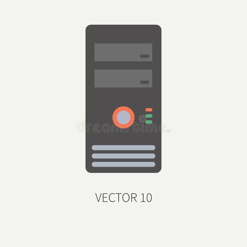 Kropp för hus för symbol för del för dator för vektor för slättlägenhetfärg cartoon Digital dobbel- och för skrivbord för PC för  royaltyfri illustrationer