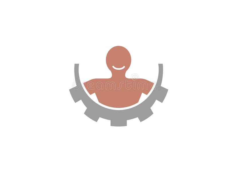 Kropp inom en kugghjulpignion och smie för logodesign royaltyfri illustrationer