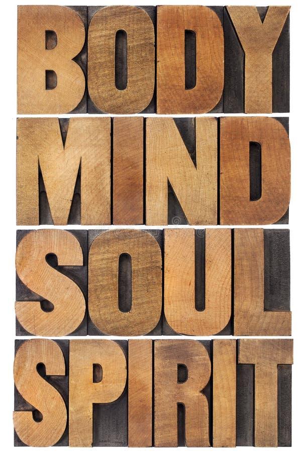 Kropp, mening, anda och ande royaltyfria bilder