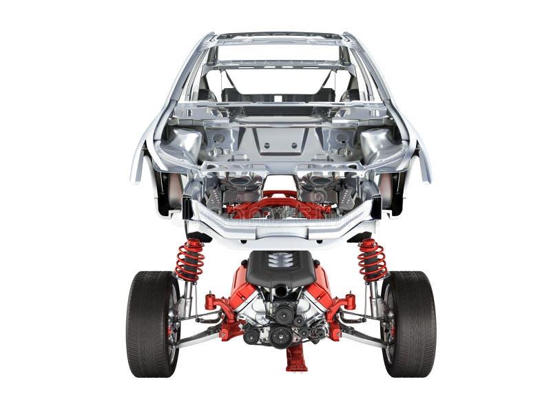 Kropp och upphängning av bilen med hjul- och motorchassin med bodycar i främre sikt för detalj som isoleras på vit bakgrund royaltyfri illustrationer