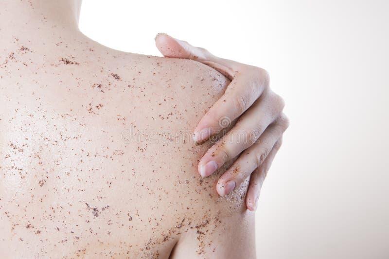 Kroppomsorg, hud som tillbaka skalar royaltyfria foton